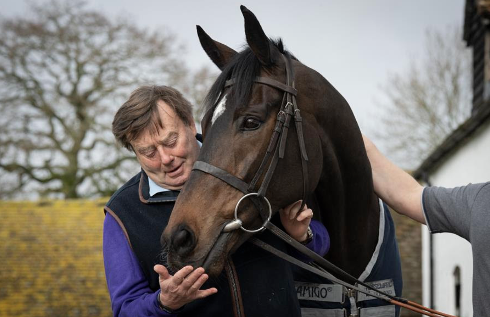 Nicky Henderson and stable star Altior at his Seven Barrows yard