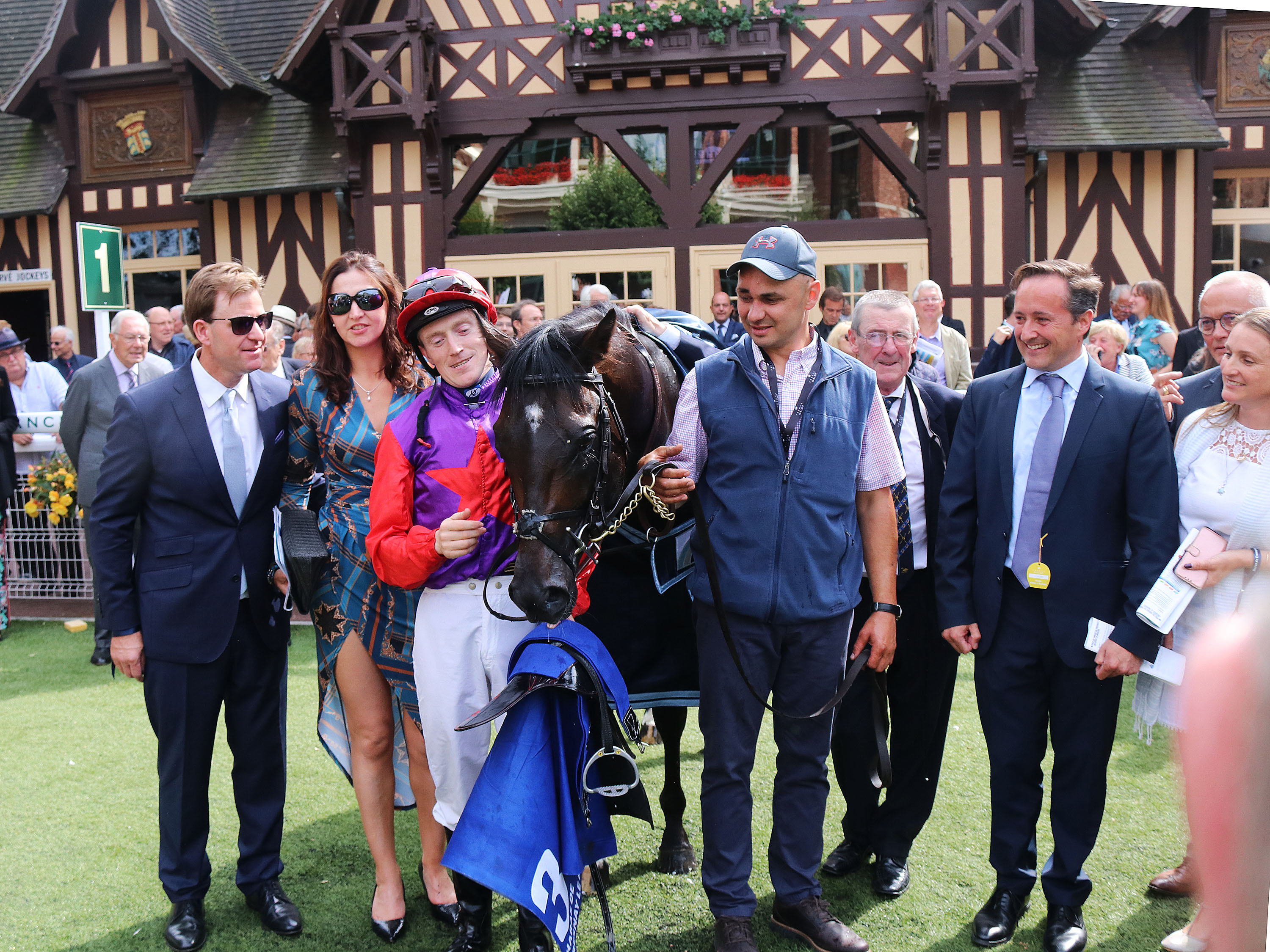 Connections of Romanised celebrate success in the 2019 Prix Jacques Le Marois. Pic: FocusOnRacing