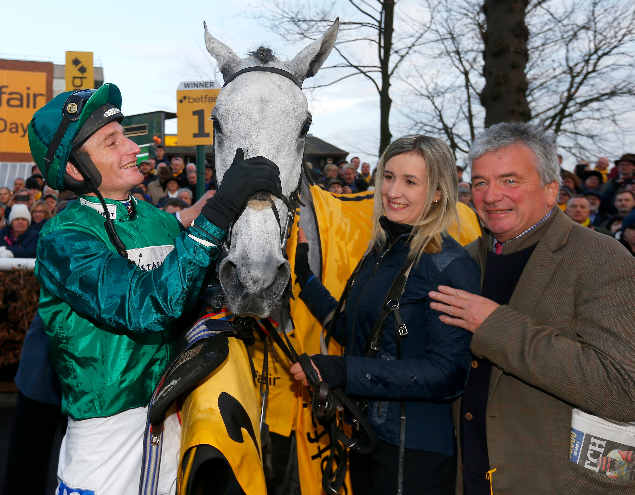 Bristol de Mai after yet more Betfair Chase glory for Jacob, trainer Nigel Twiston-Davies and owners Simon Munir and Isaac Souede (Photo: Focusonracing)