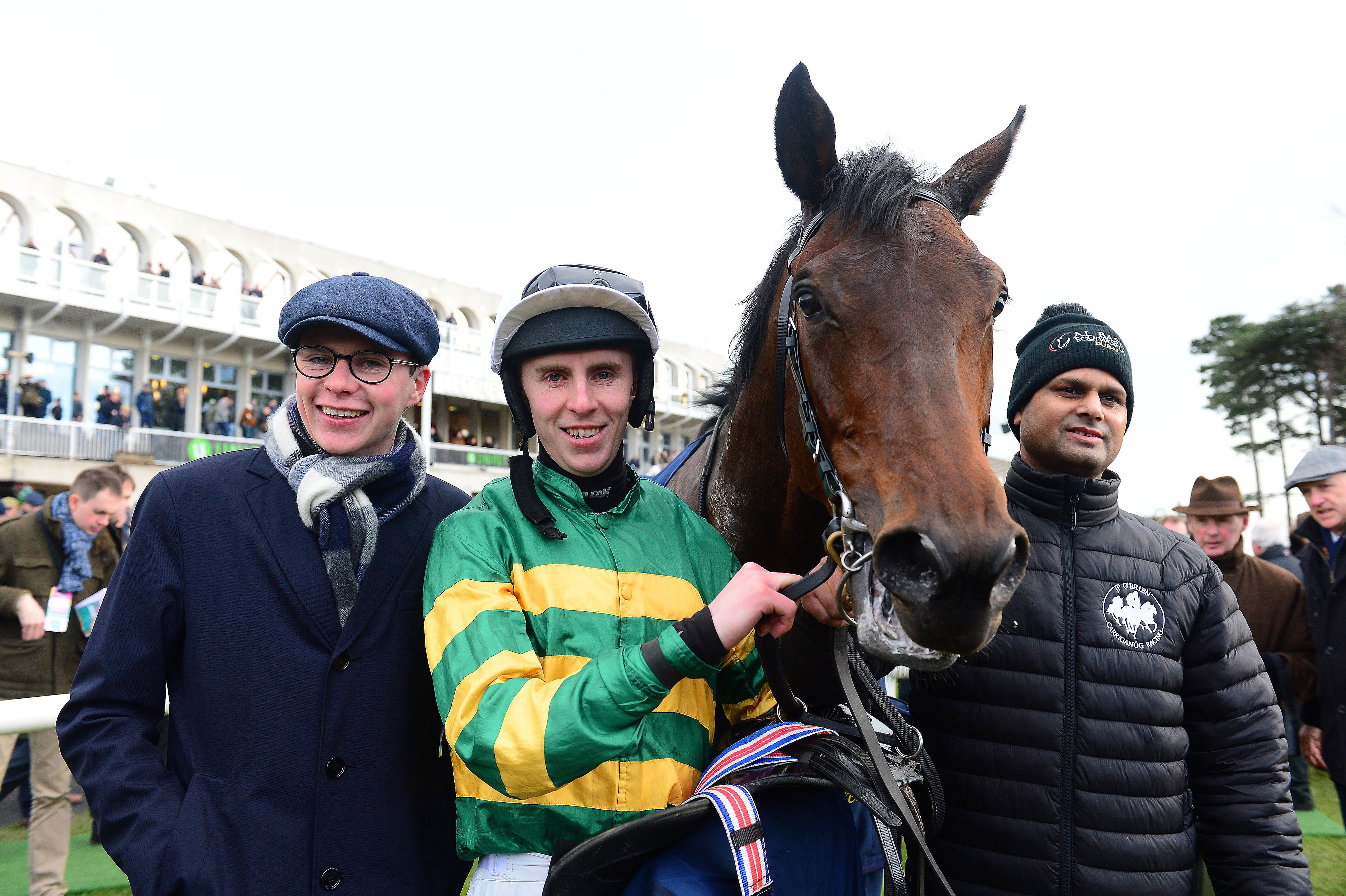 Connections of Sir Erec stand with him after a fluent win last month (Focusonracing)