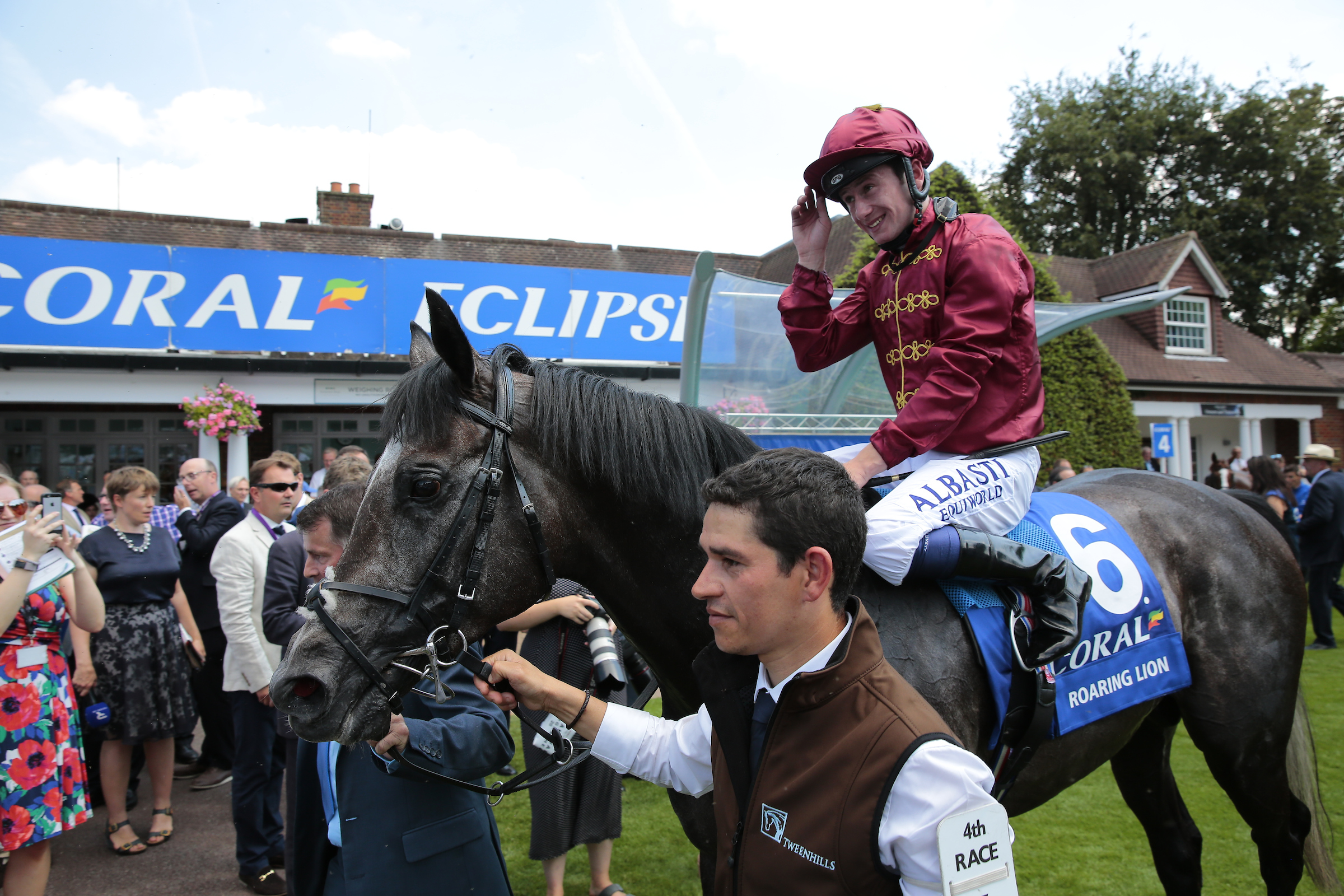Murphy returns to the winner's enclosure after winning the Eclipse on Roaring Lion. Pic: Focusonracing
