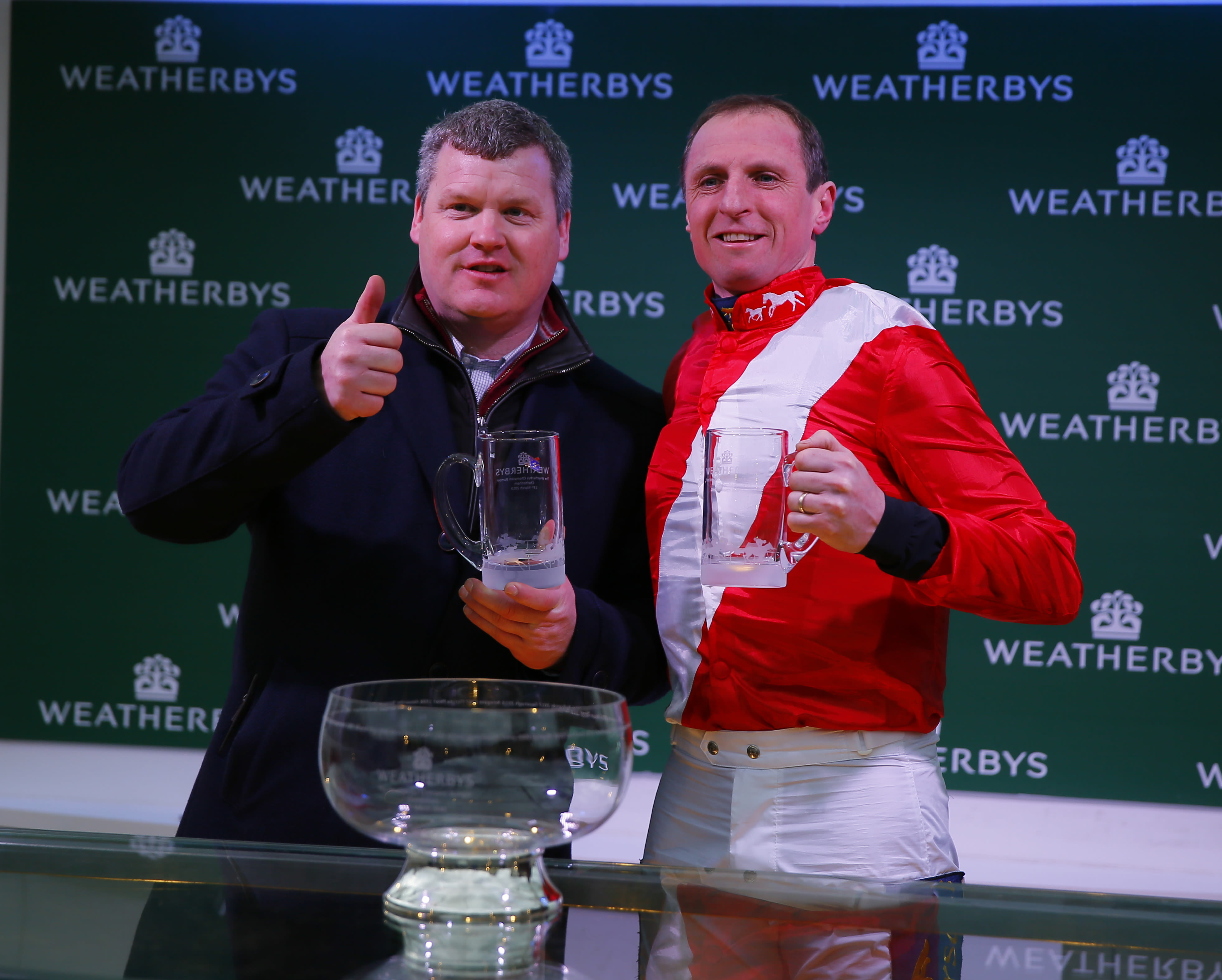 Leading amateur Jamie Codd (right) was set to ride  leading Champion Bumper contender Sir Gerhard