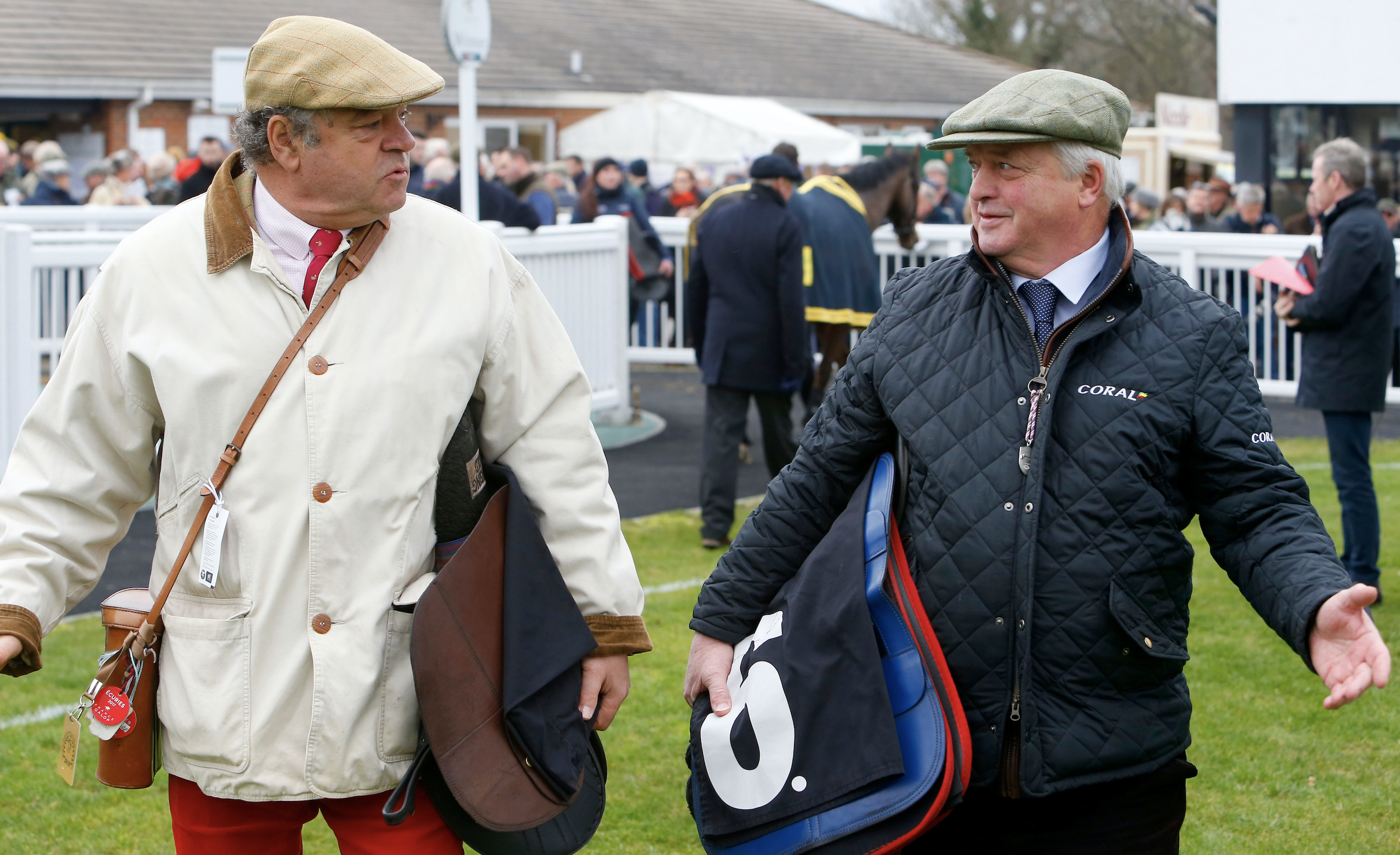 Macaire and Colin Tizzard in conversation at the Sussex track  (Focusonracing)