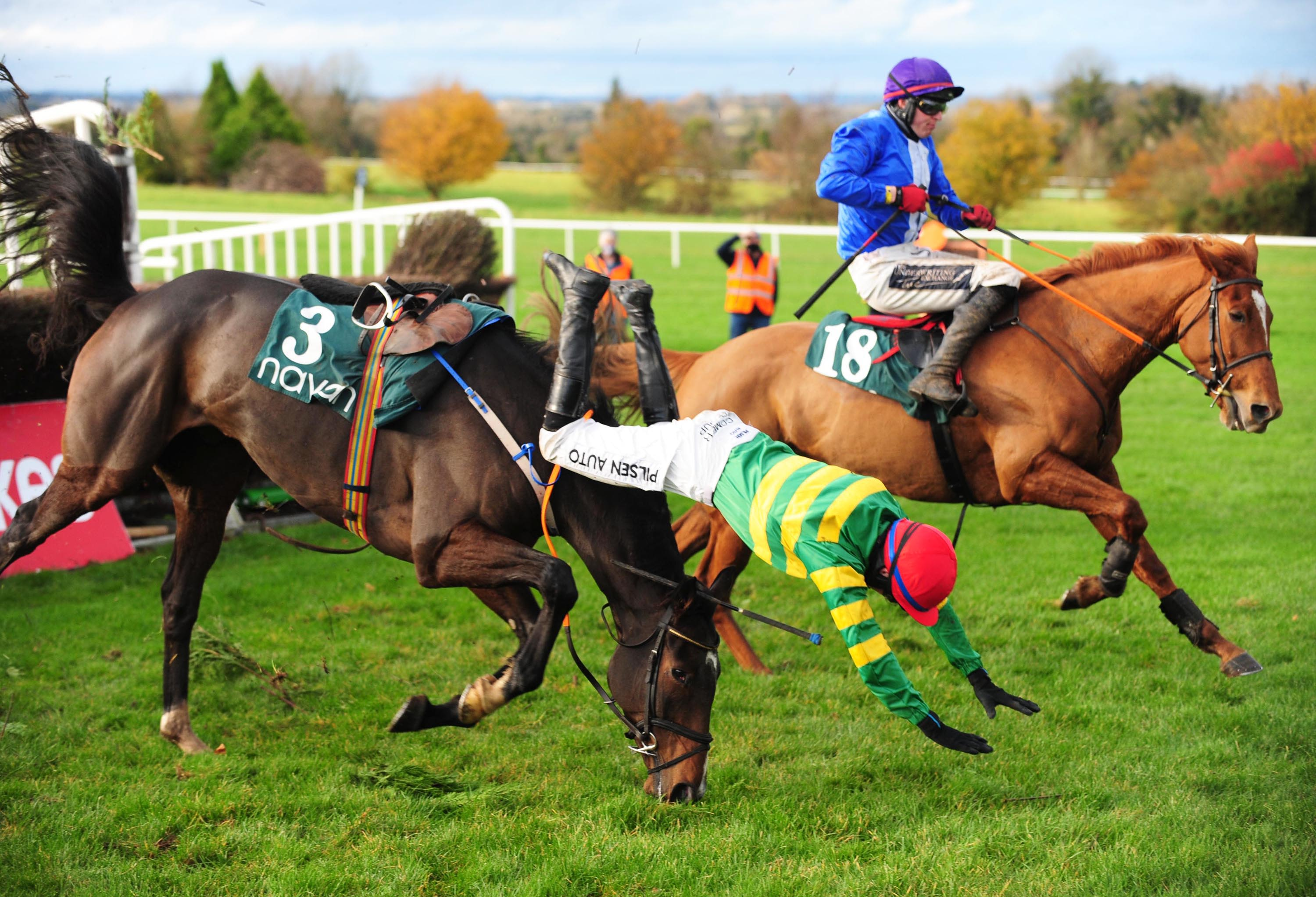 Conditional jockey Conor McNamara parted company with Donkey Years in spectacular fashion in the beginners' chase. The rider was unscathed and won the next race on 16/1 chance Youngnedonthehill. (Focusonracing)