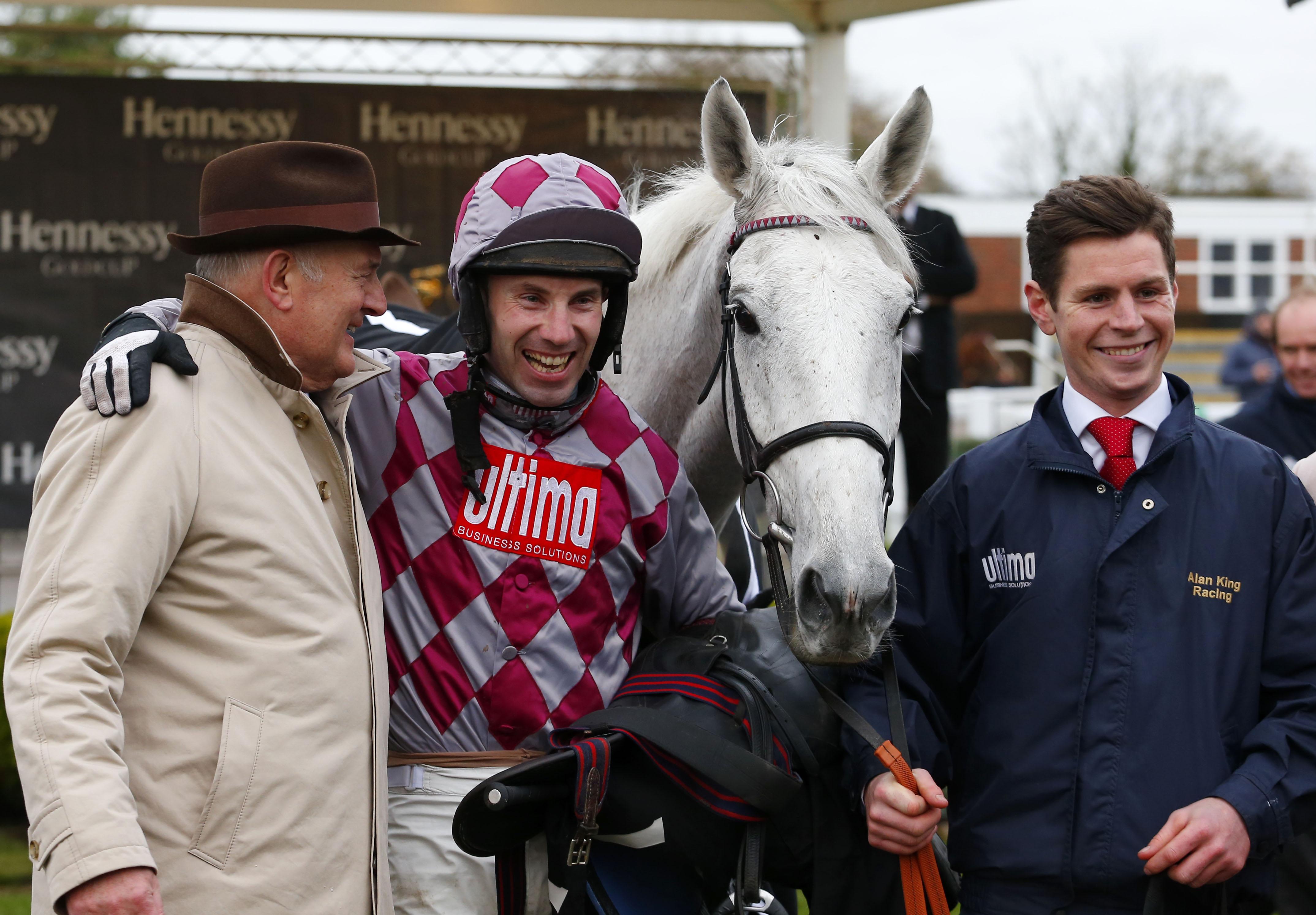Happy scenes in the winner's enclosure at Newbury. Pic: FocusOnRacing