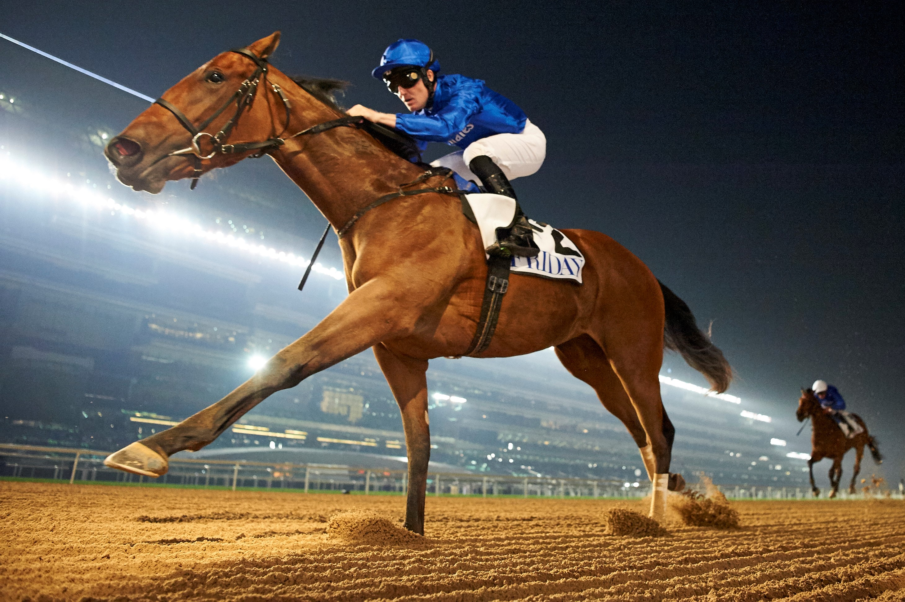 Winter Lightning wins at Meydan under Pat Cosgrave. (DRC)
