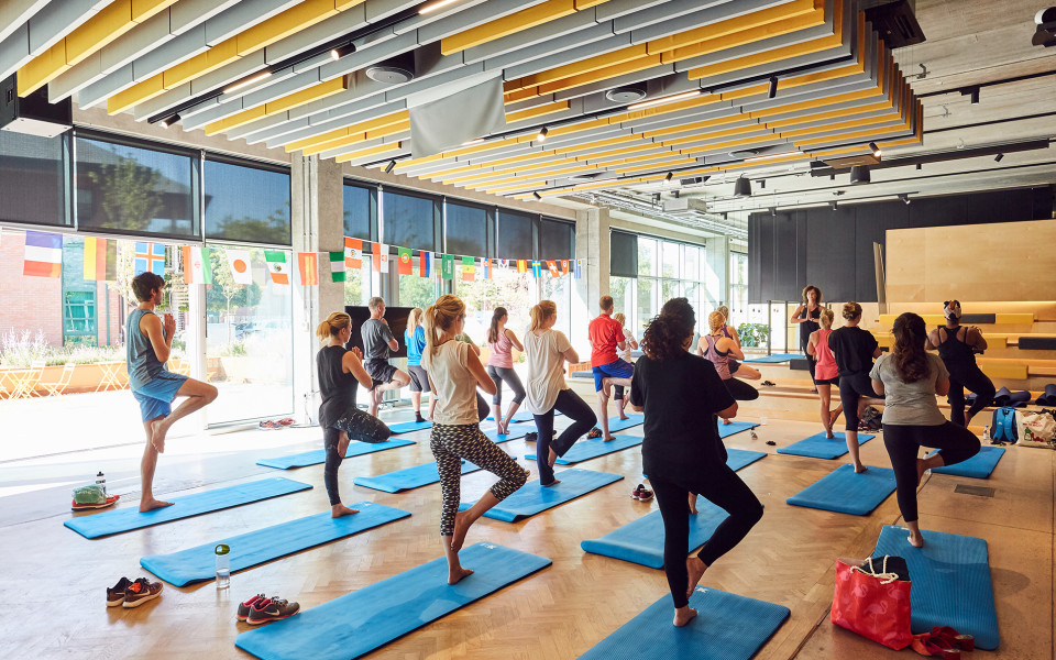 Yoga class at the Bright Building