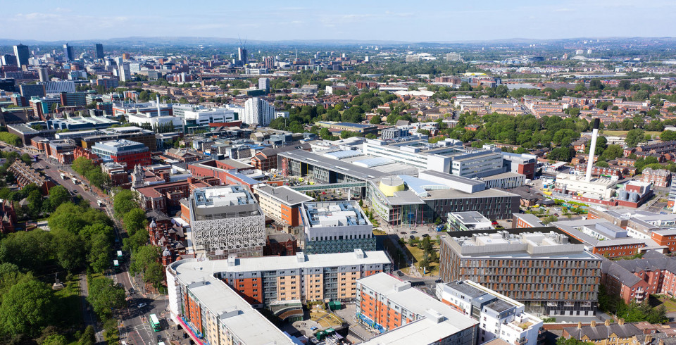 An aerial image showing the Citylabs campus and surrounding MFT hospitals