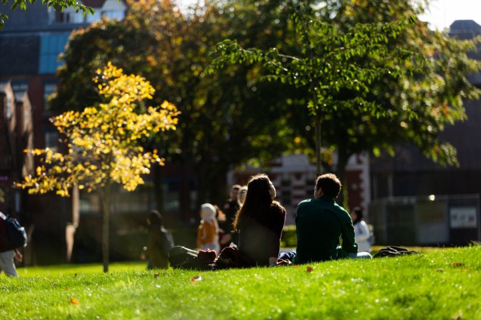 Two people sat on grass in front of trees with the sun shining