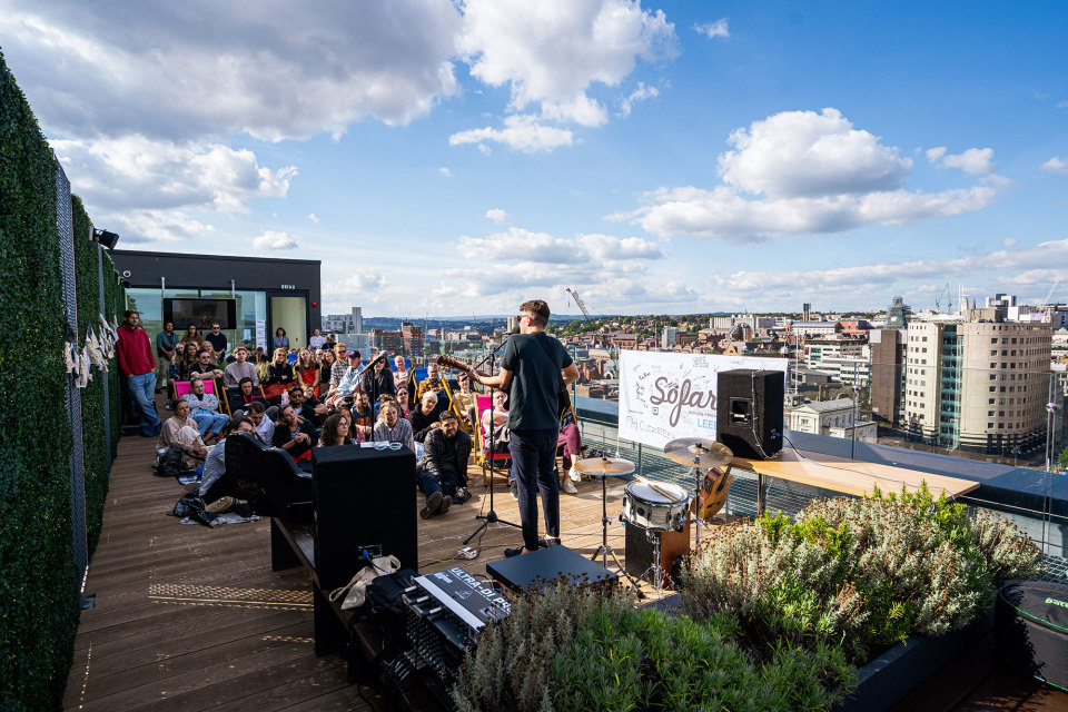Platform roof terrace and summer social event