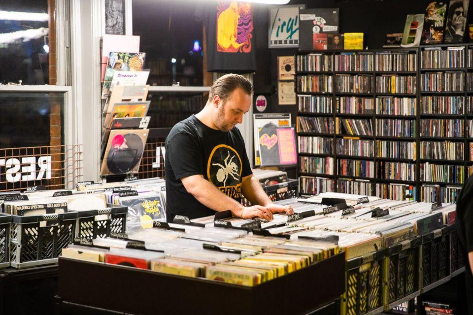 A man browsing records at Afflecks