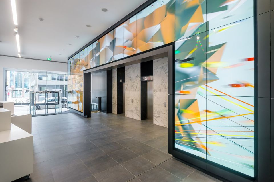 Digital art wall in reception