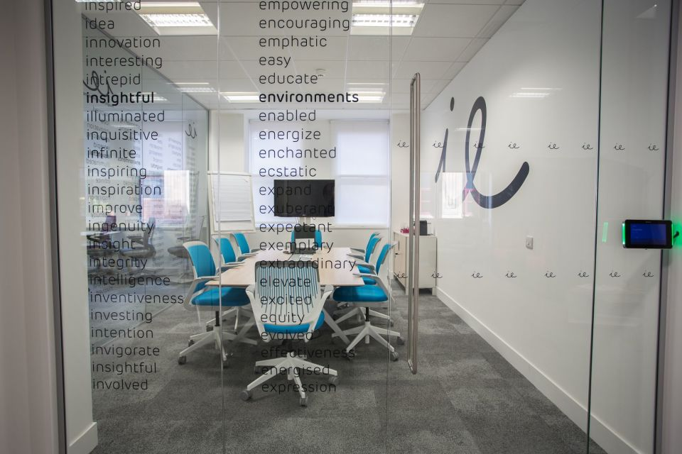 Meeting room in a leased office