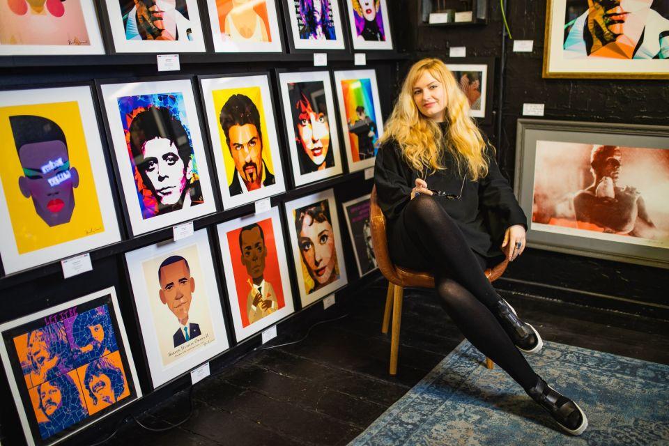 An independent artist displaying her work at Afflecks