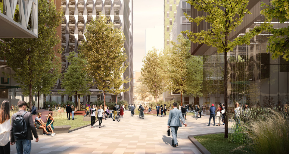 An indicative view of the masterplan for ID Manchester showing the potential redevelopment and large expanse of green space