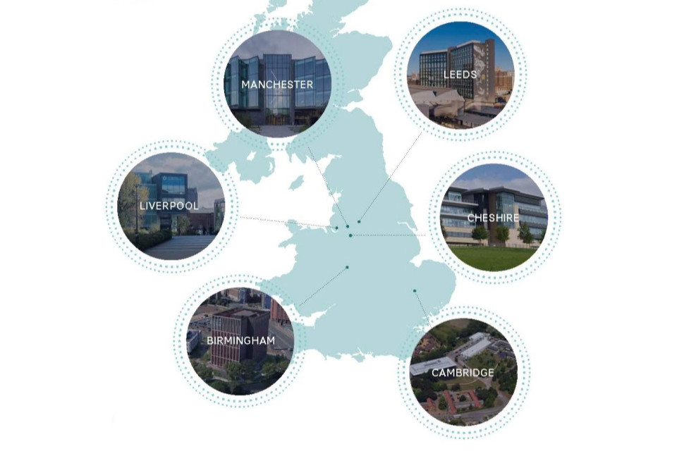 A map of the UK showing the cities where SciTech campuses are located. These are Manchester, Leeds, Cheshire, Cambridge, Birmingham and Liverpool