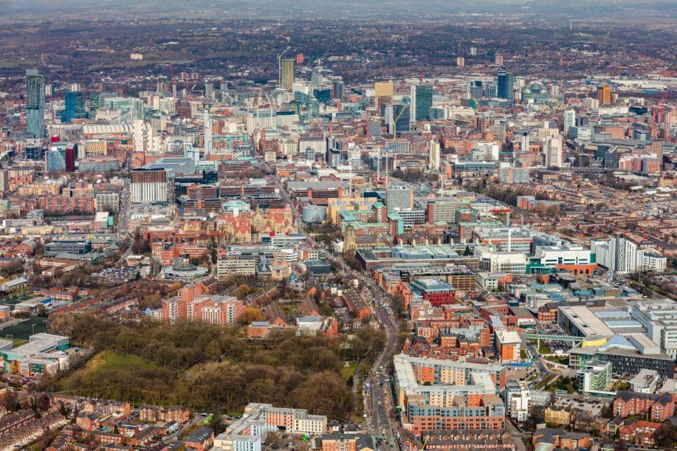 Ariel shot of Manchester city centre