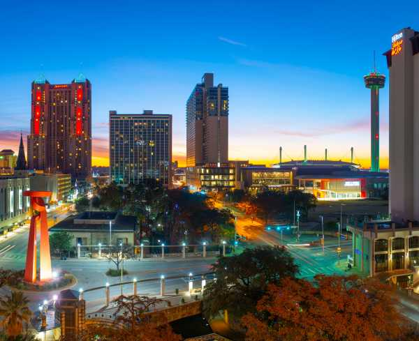 San Antonio skyline at twilight, the home of ACI Learning San Antonio | Hero