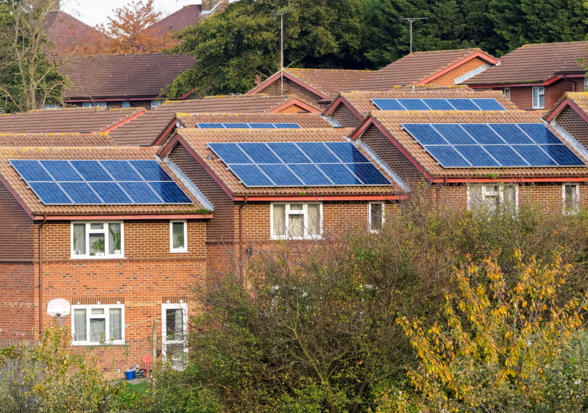 Terraced houses with solar panels