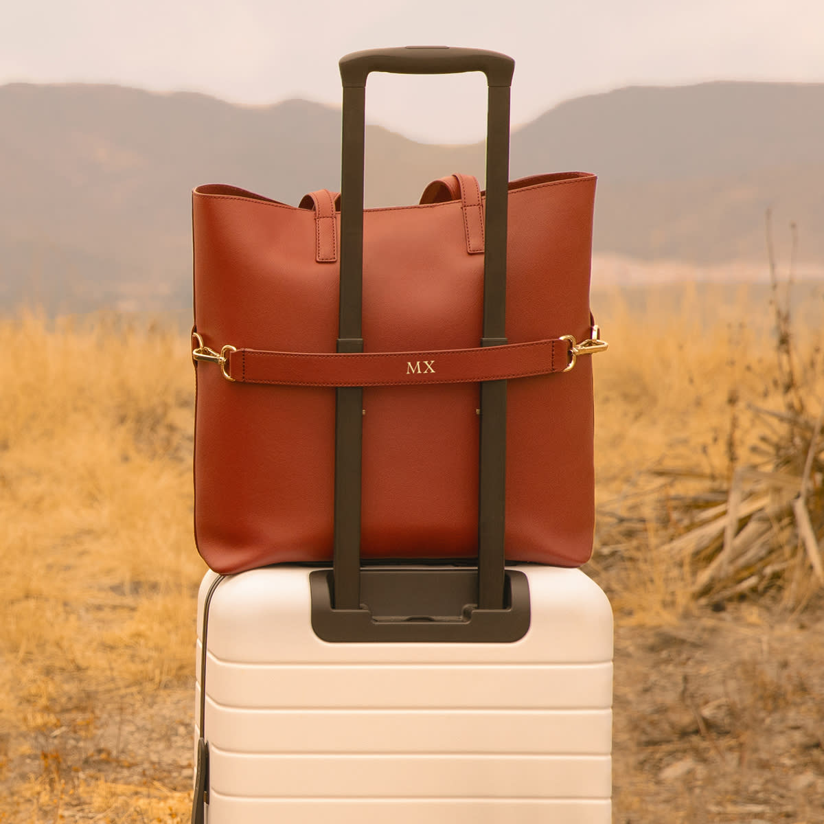 A luggage set seen in a field with a leather tote bag strapped on a white hard-sided carry-on suitcase.