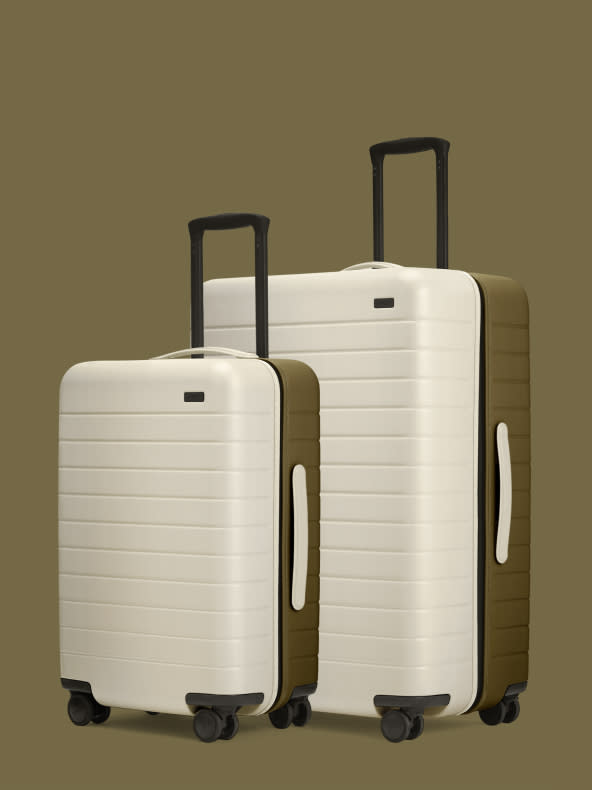 Olive and cream dual shade hardsided suitcases in carry-on and checked size