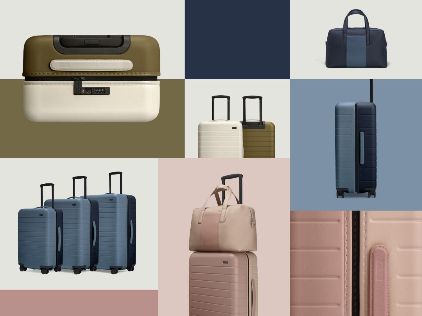 Two tone Away luggage collection in pastel shades of blue, olive and pink displayed in image blocks.