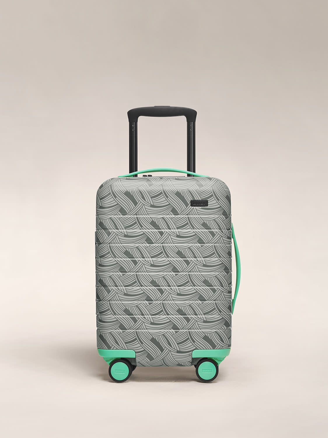 Front view of The Kids' Carry On in light swirl, with aqua details