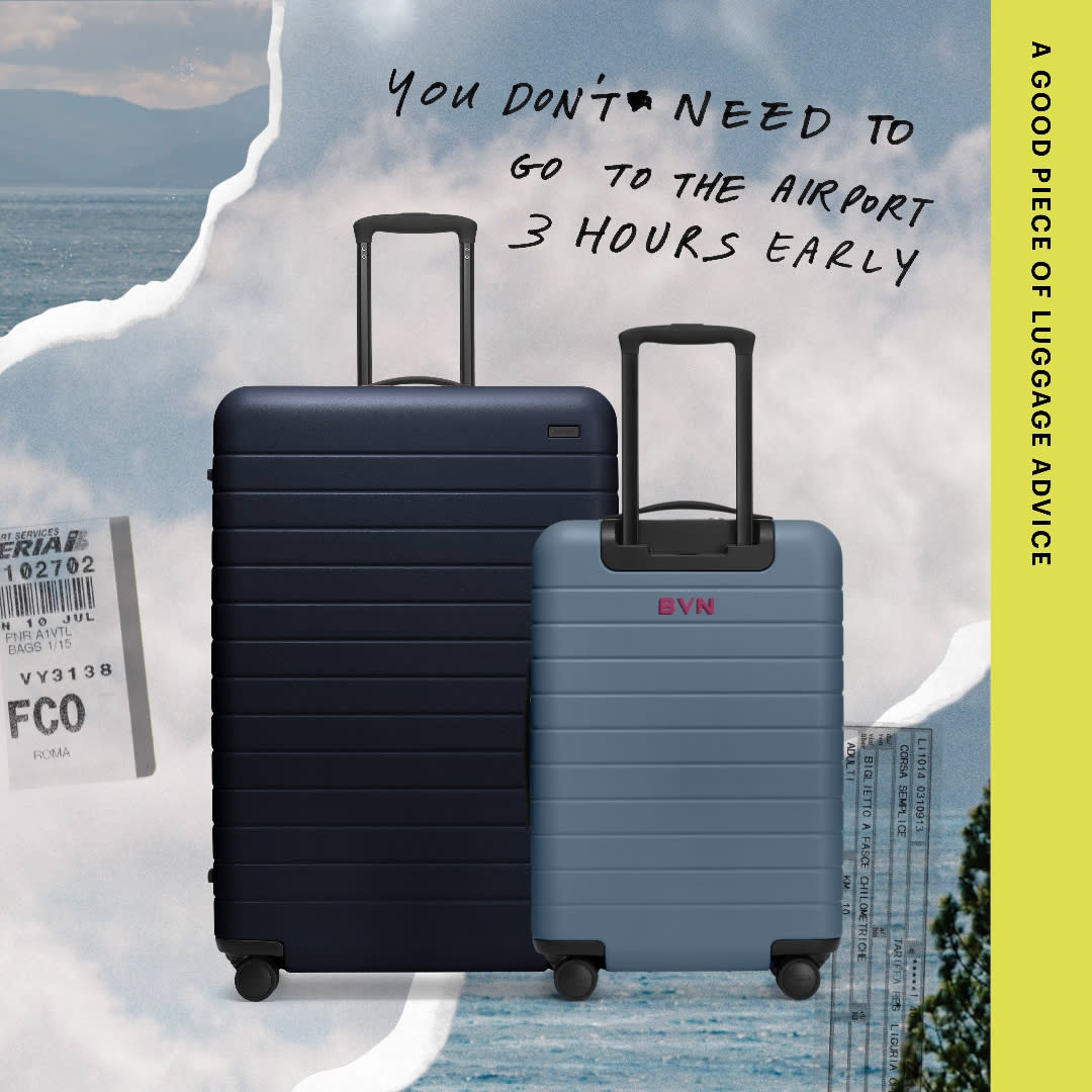 Away suitcase set in blue, a checked and carry-on, pasted into a postcard like image with the sky and ocean on each side.