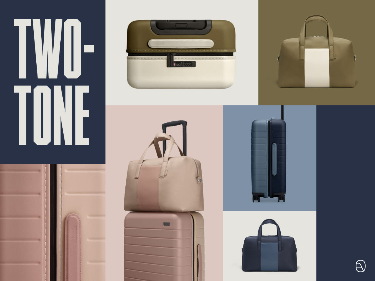 Two tone Away luggage in pink, blue and olive; hardsided carry-on suitcase and overnight travel bag