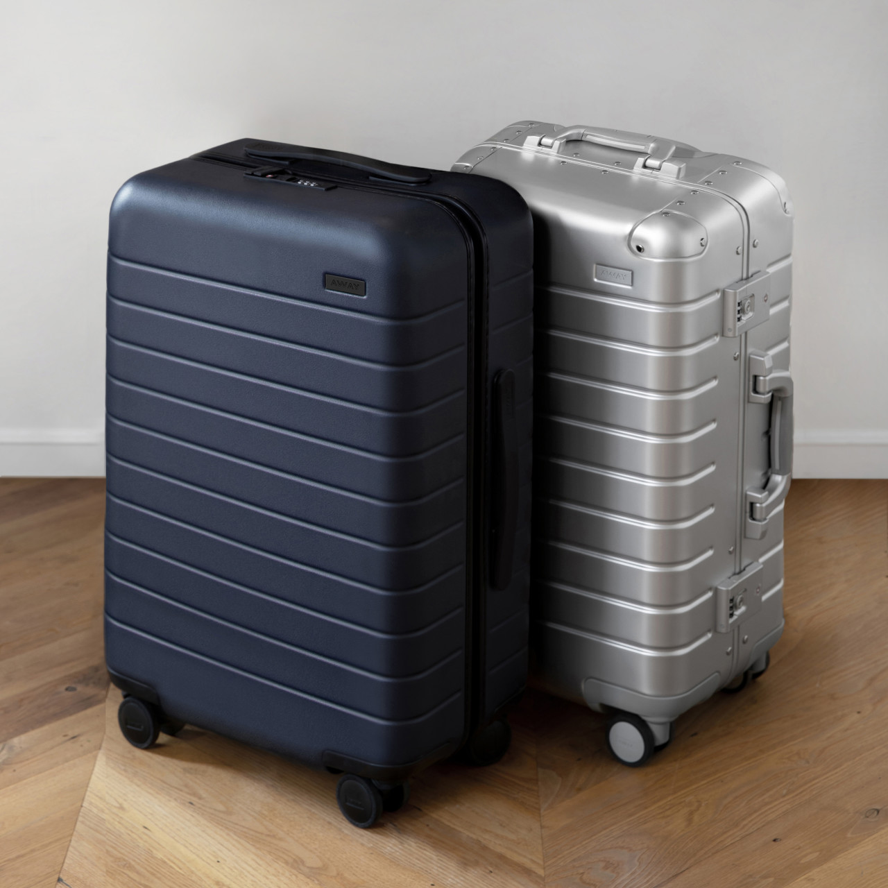 Away Carry-on suitcases Aluminum Edition and hard side Navy.
