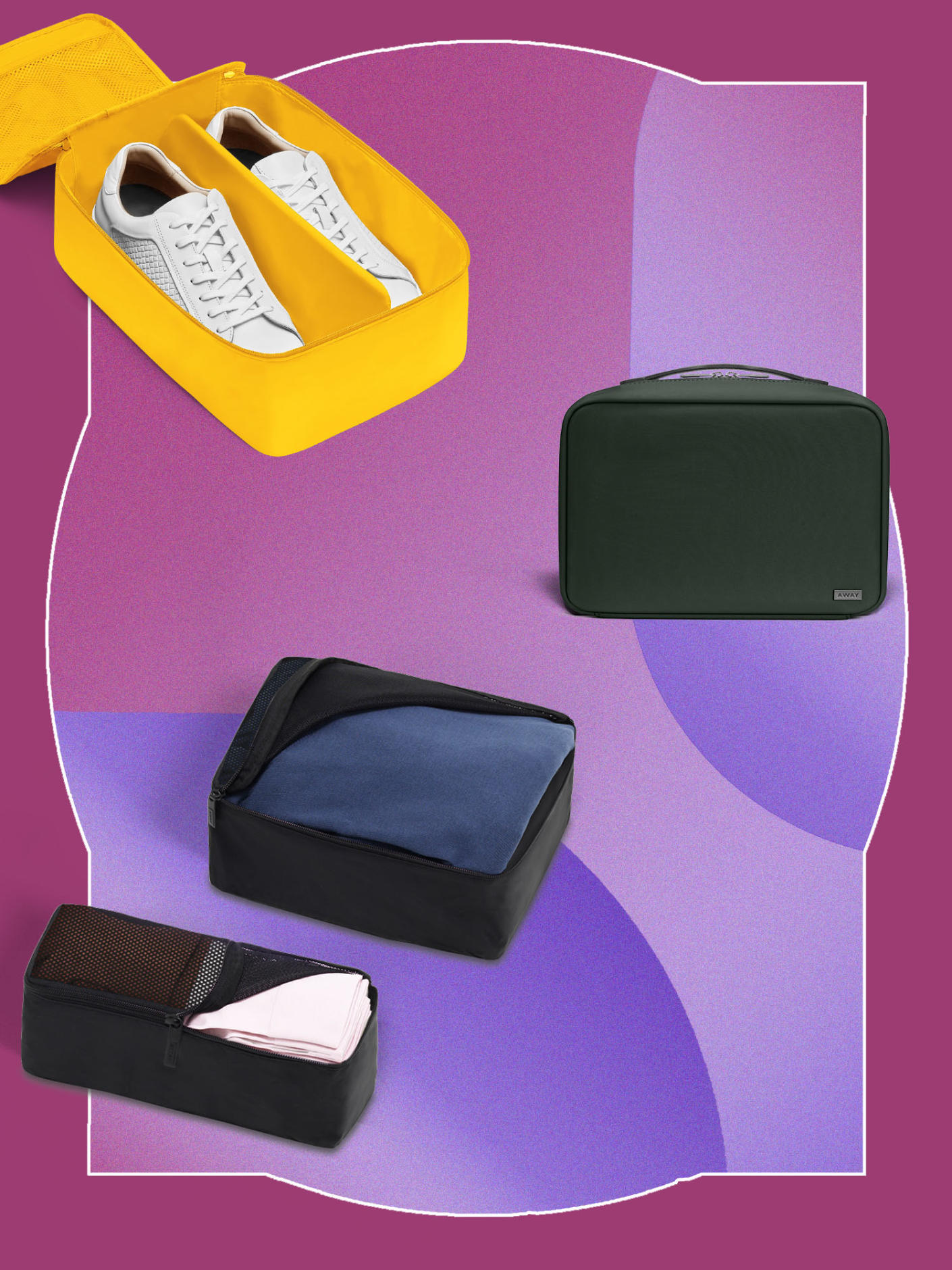 The Hanging Toiletry Bag in Black nylon, The Large Shoe Cube in Golden, and The Insider Packing Cubes (Set of 4) in Black
