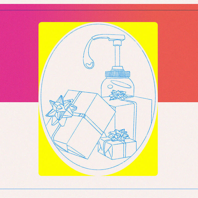 Sketch of gifts wrapped and packed with a hand sanitizer bottle against a background of neon colors pink and yellow.