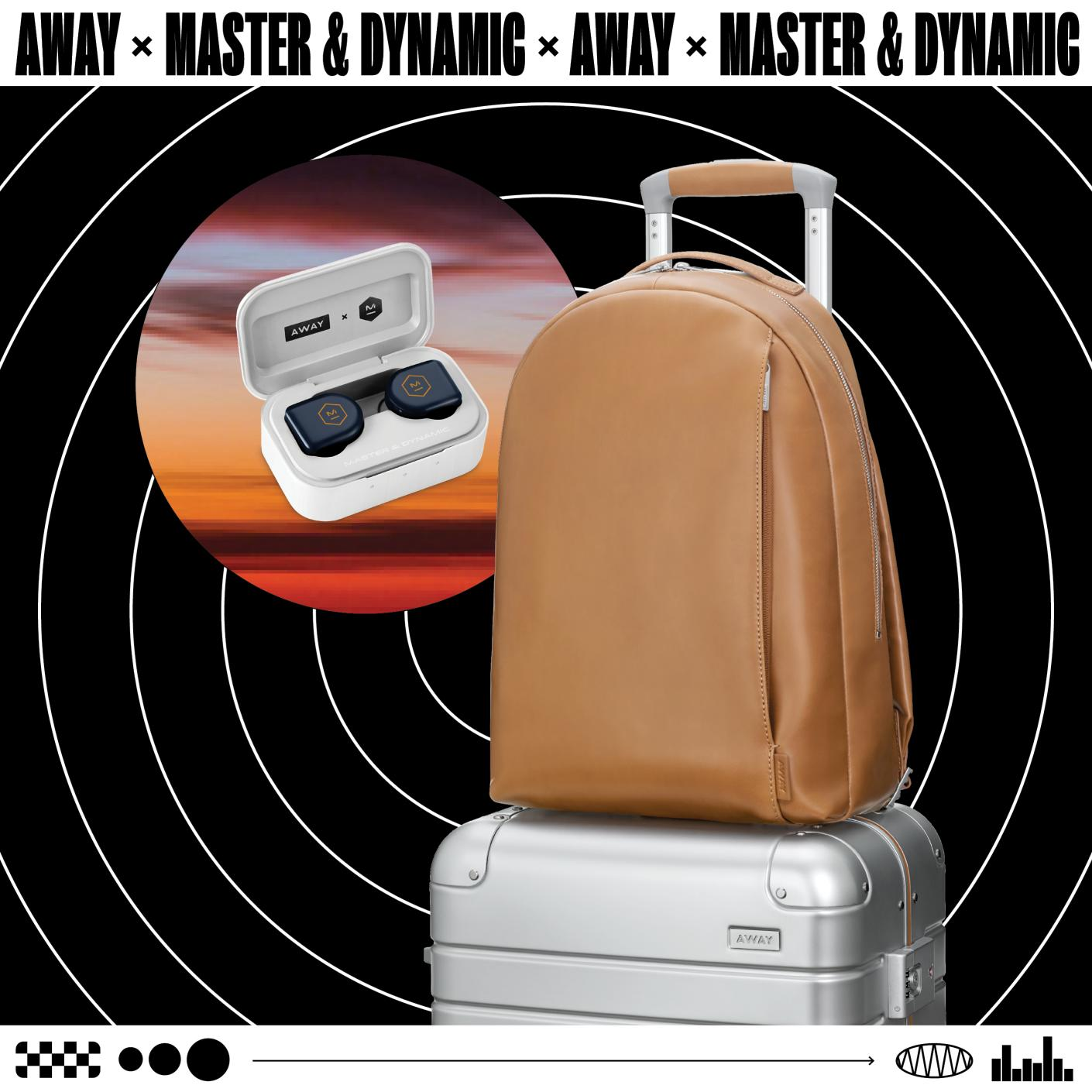 Away x Master & Dynamic products with circular sound waves on a black backdrop. Headphones (left), tan backpack (right) on top of Aluminum suitcase.