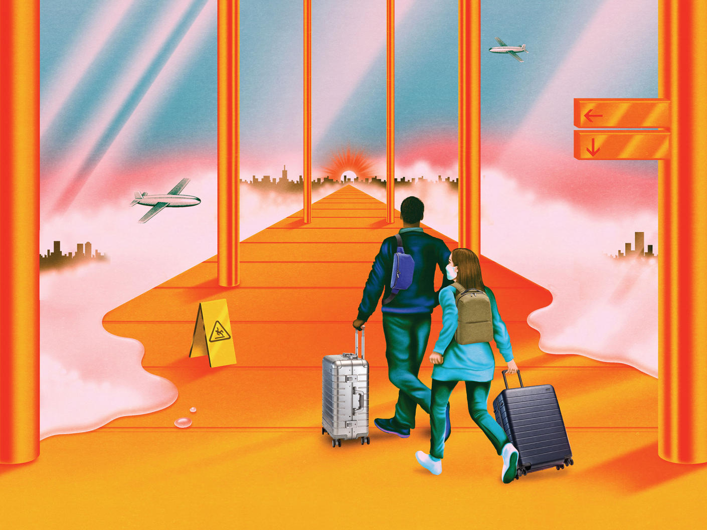An illustration of people with luggage walking down an airport corridor with planes and cityscape outside the windows.
