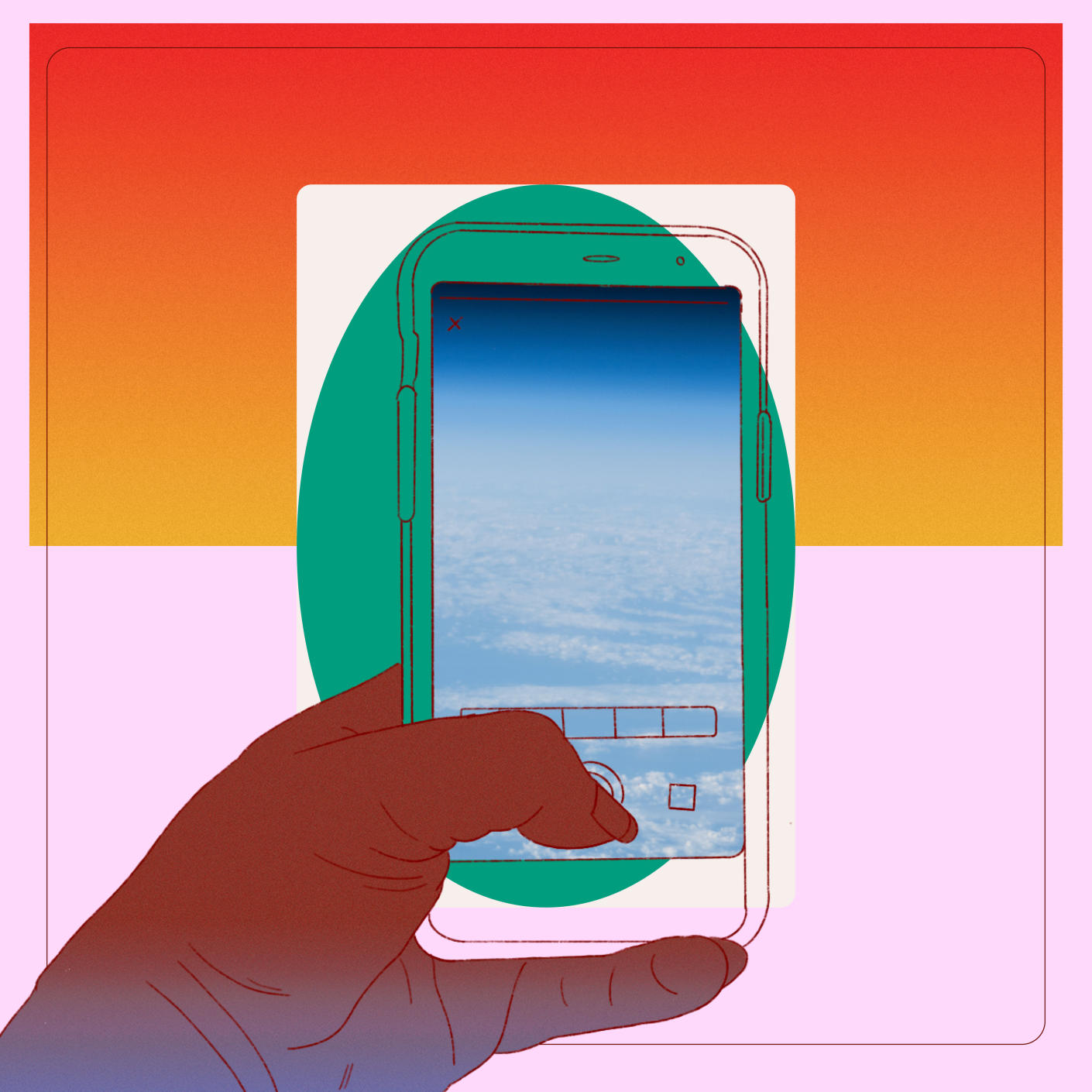 An illustration of a hand holding a cell phone taking a focused picture of the sky as would be seen from the window of an airplane with an orange and pink background.