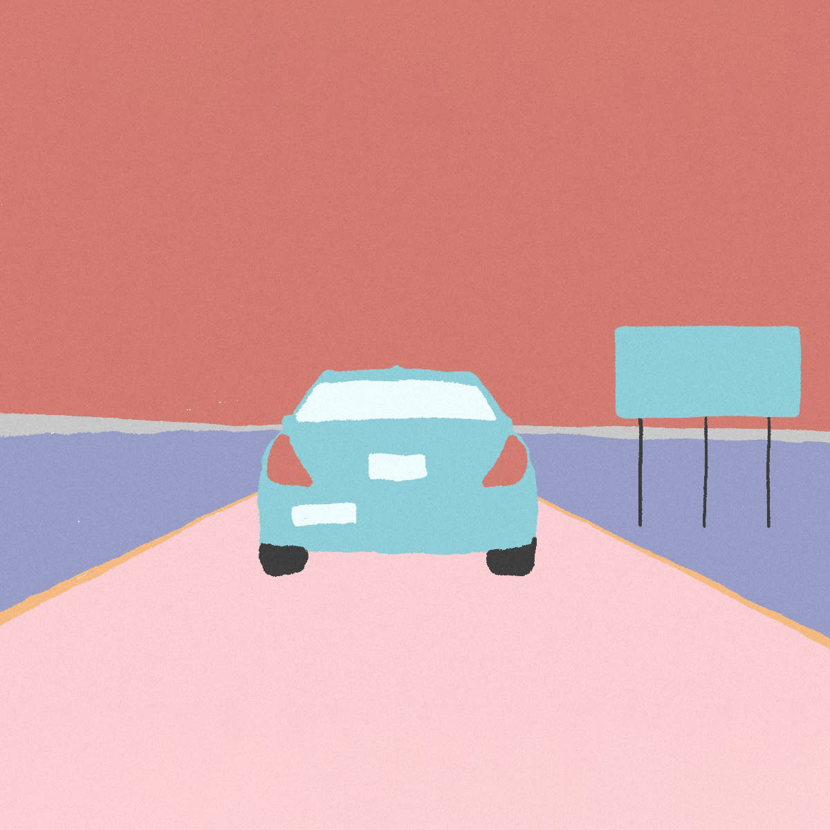 A pastel color image of a car on a pink road with a blue billboard on the left and rose colored sky.