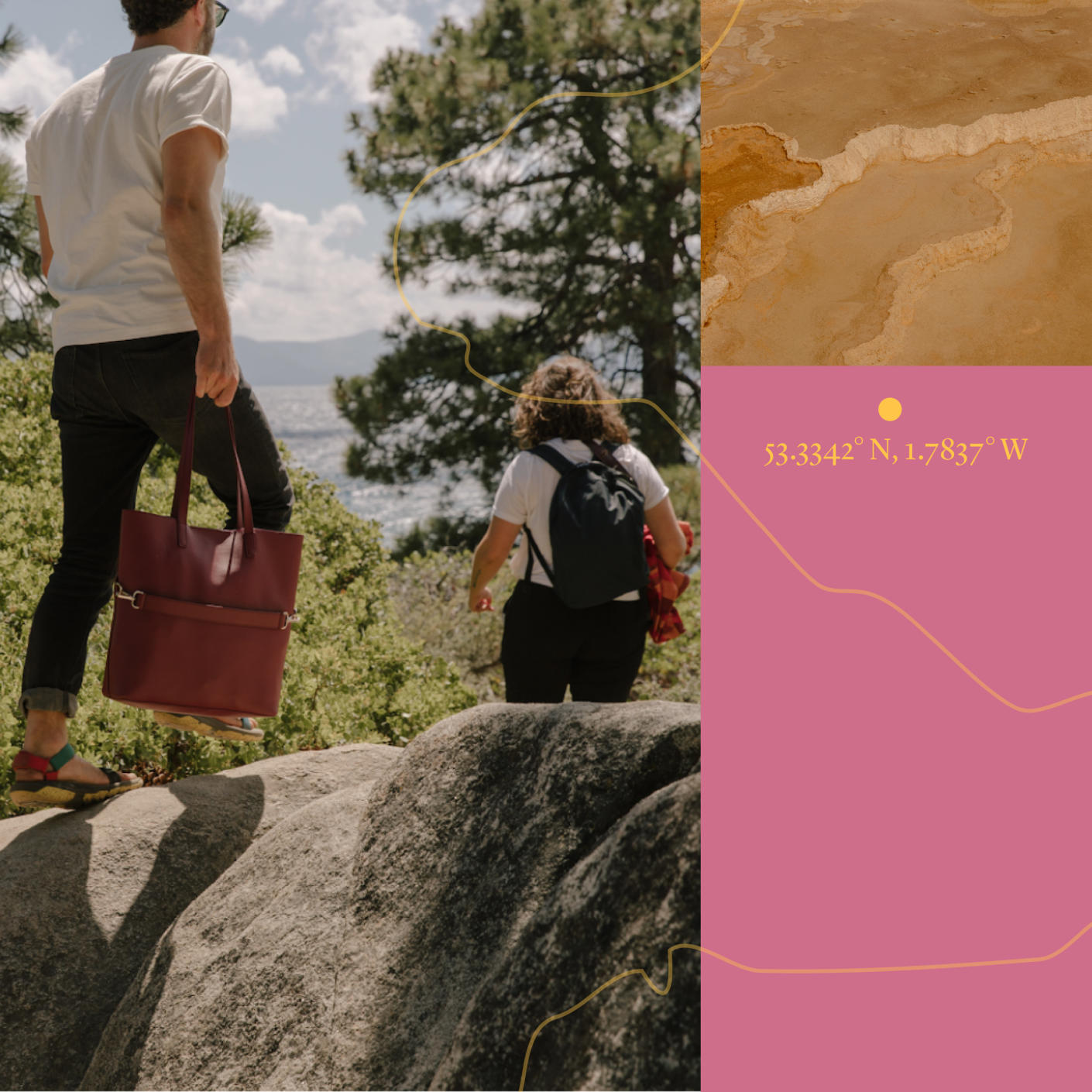 Left) A man and woman hiking over some rocks with a backpack and tote bag moving towards water-(Right) top has brown topography, bottom with geographic coordinates in pink.