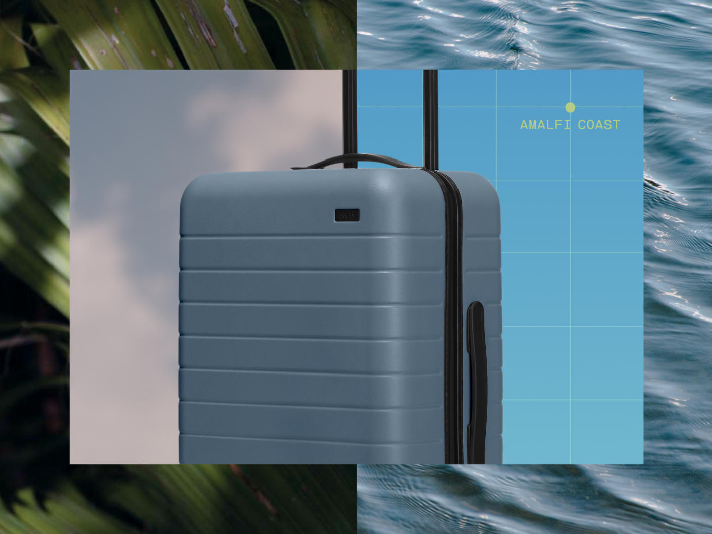 Waterline with words 'Amalfi Coast' in yellow in a grid line with an Away carry-on suitcase in blue with a foliage background.