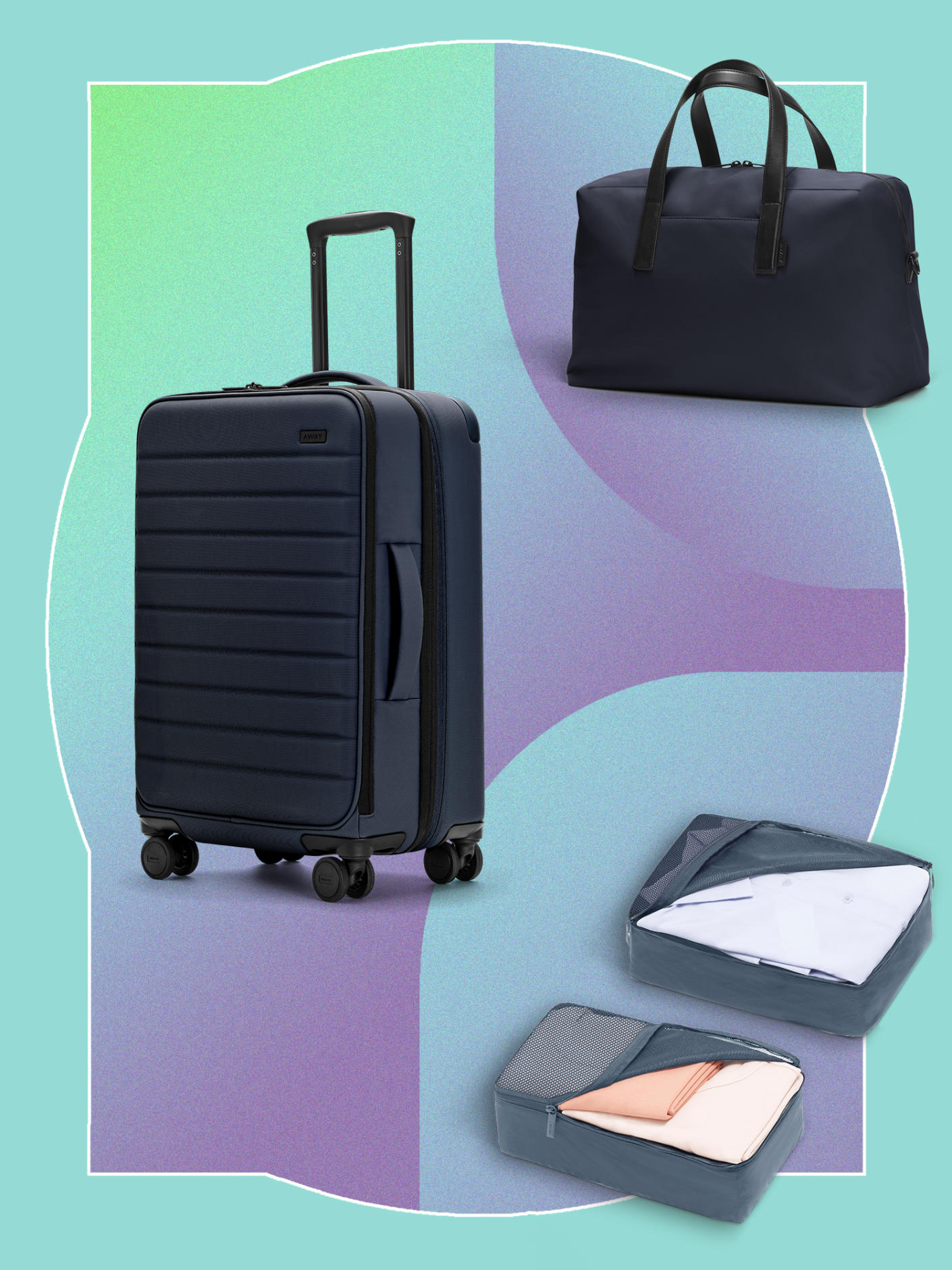 The Expandable Bigger Carry-On in Navy, The Everywhere Bag in Navy nylon, The Insider Packing Cubes (Set of 4) in Coast