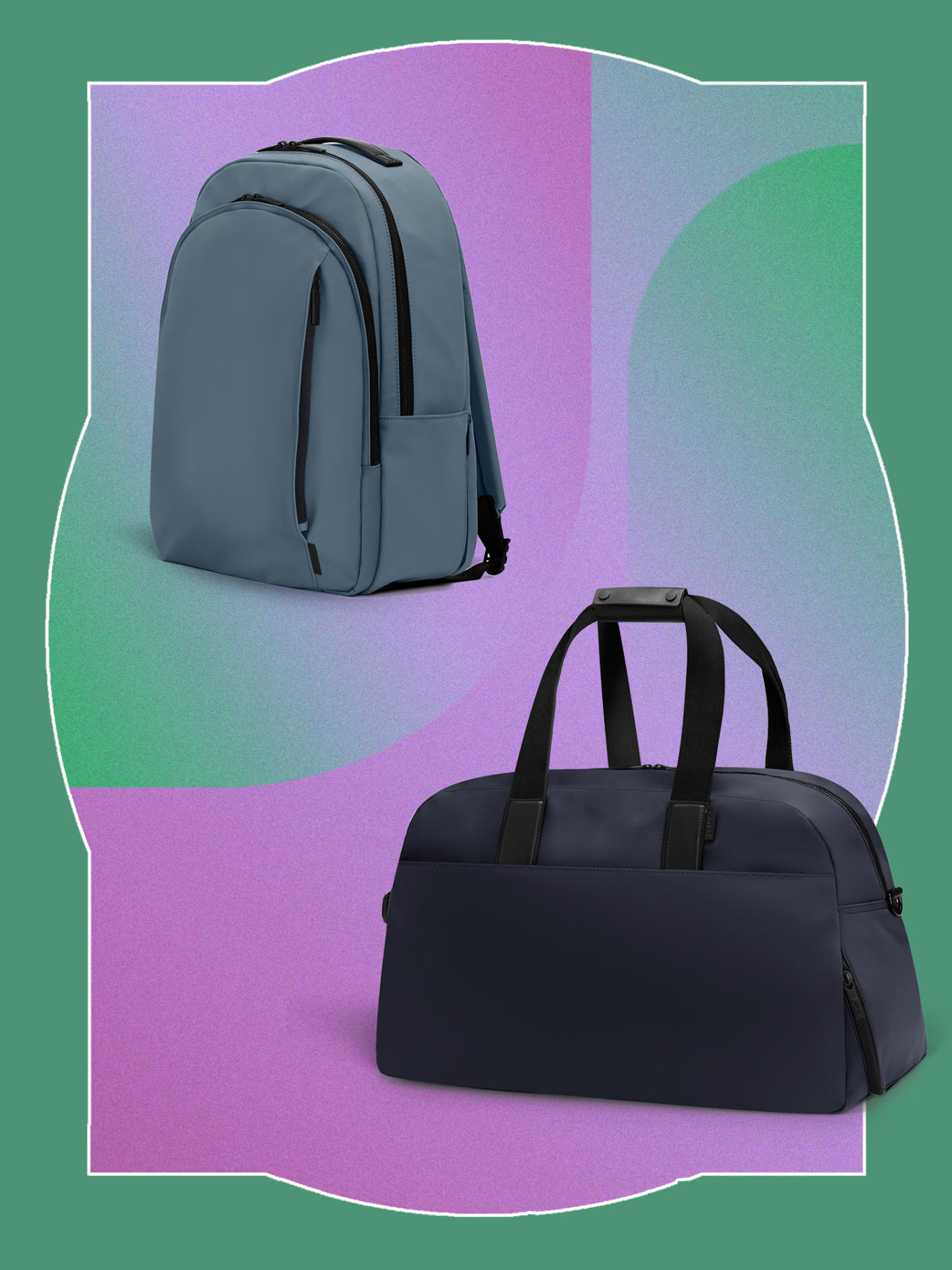 The Backpack in Coast nylon and The Weekender in Navy nylon