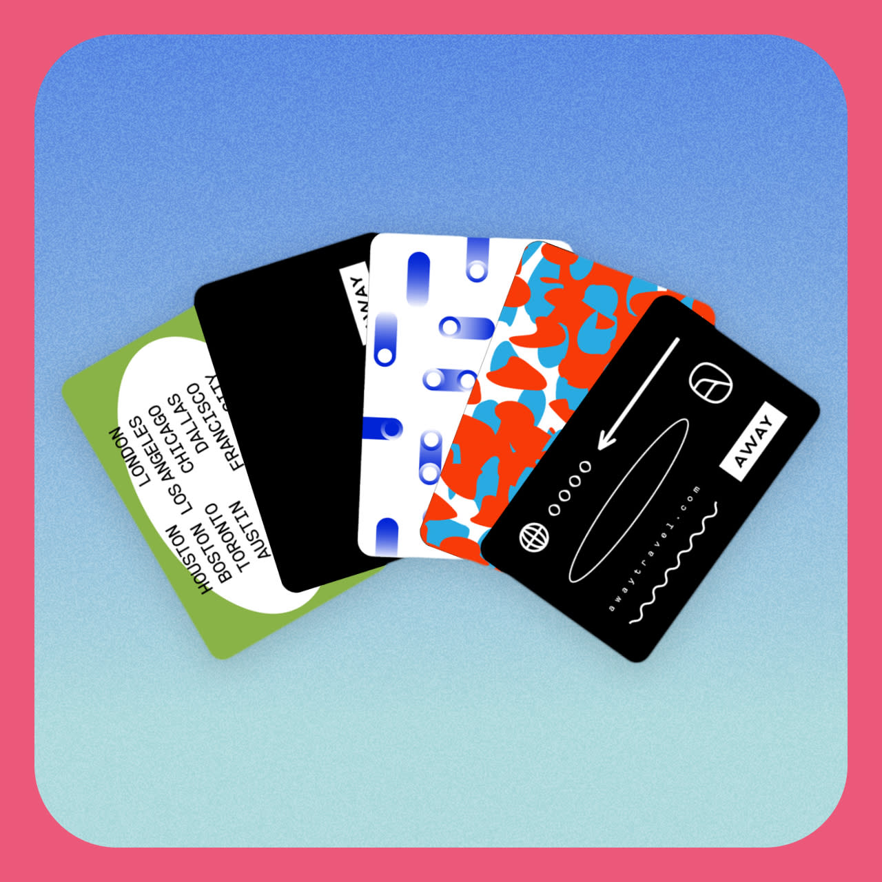 The digital gift card in a variety of card designs