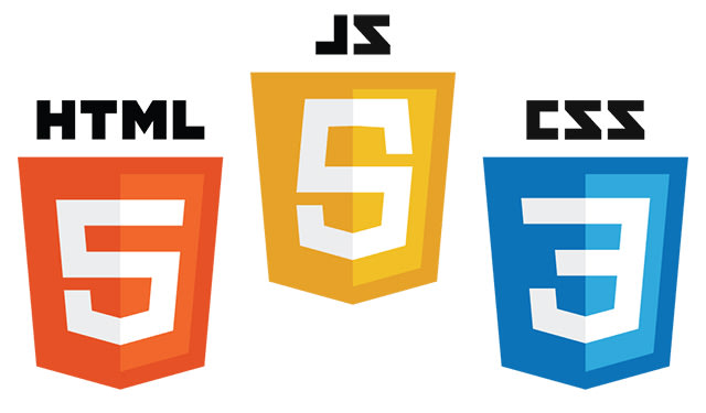 Logos of HTML5, CSS3, and JavaScript