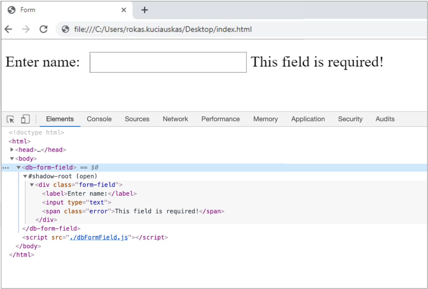 Web browser window displaying rendered result and opened developer tools displaying the code.