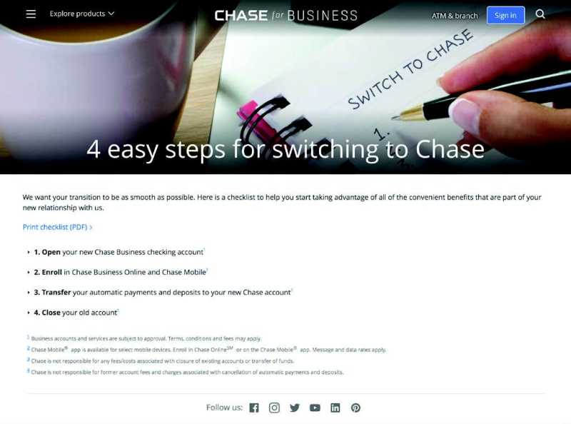 chase website Onboarding