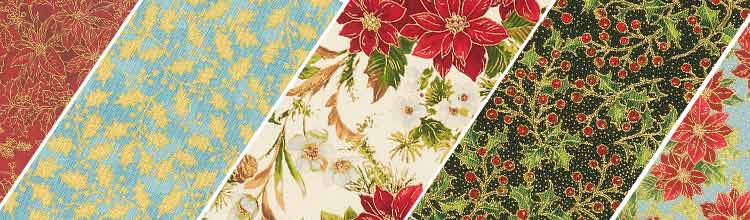 Poinsettias & Pine Fabric by the Yard