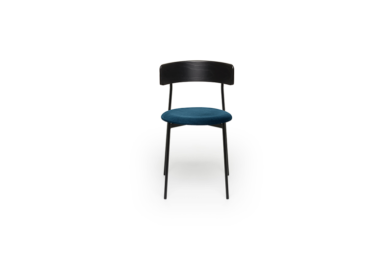 FEST friday dining chair no arms black back royal petrol front
