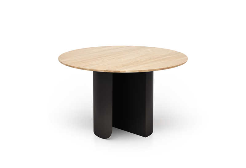 Plateau dining round oak top black frame front