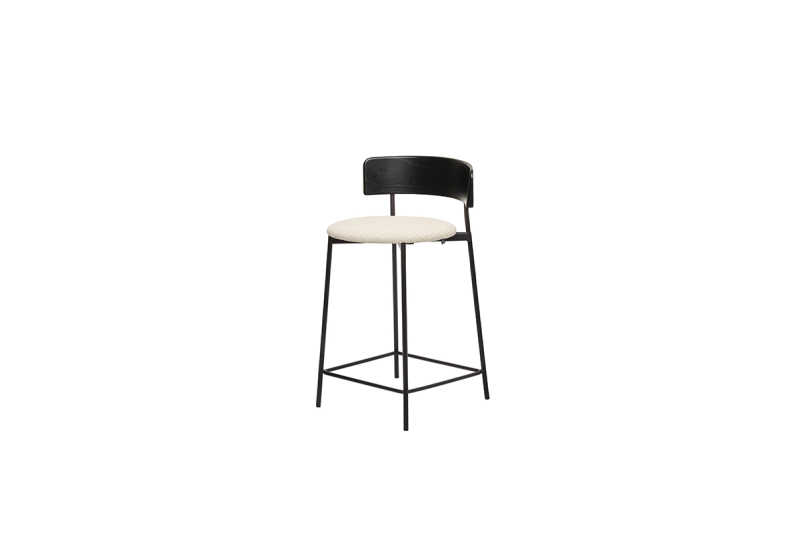 FEST friday counter stool black back black seat sidefront
