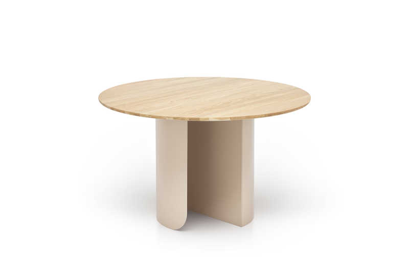 Plateau dining round oak top sand frame front