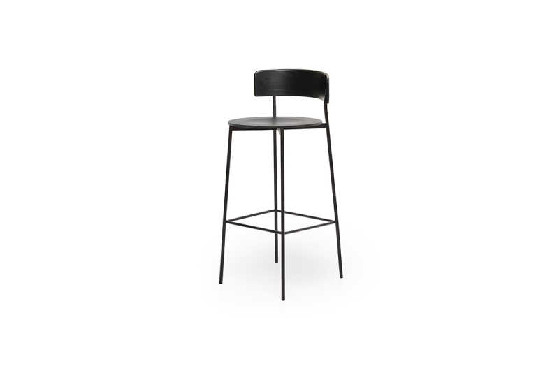 FEST friday bar stool black back black seat sidefront
